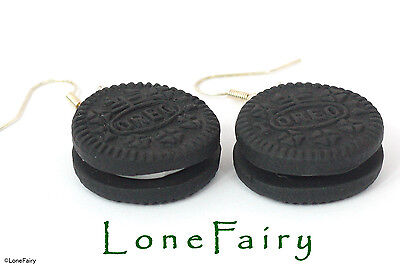 £4.95 • Buy Polymer Clay Oreo Biscuit Silver Plated Earrings Food Jewellery Black Kitsch