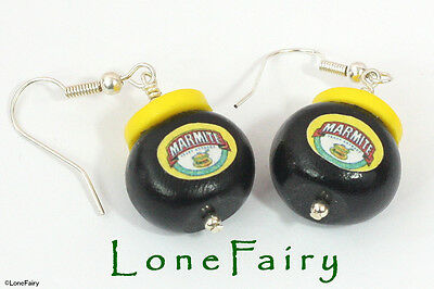 Polymer Clay Marmite Silver Plated Earrings Kitsch Nutella Bovril Food Jewellery • 5.95£