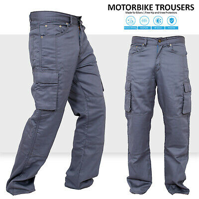 Motorbike Motorcycle Gray Armours Cargo Trousers Jeans With Protective Lining • 35.99£
