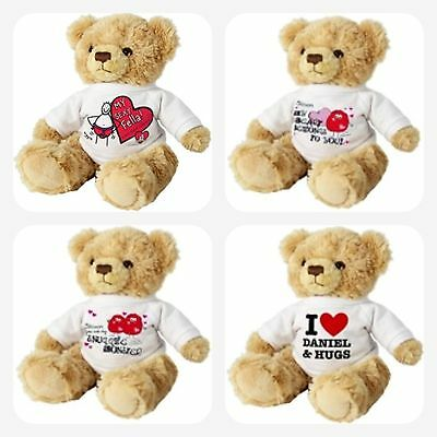 PERSONALISED LOVE TEDDY BEAR Gifts For Valentines Day Birthday Novelty Gift Idea • 17.50£