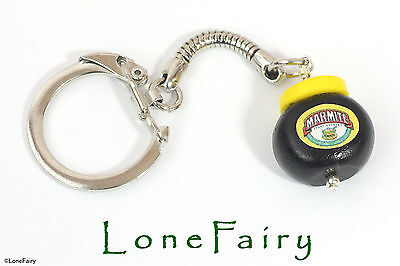 Polymer Clay Marmite Jar Keyring Food Jewellery Kitsch Retro Key Chain Black • 3.95£