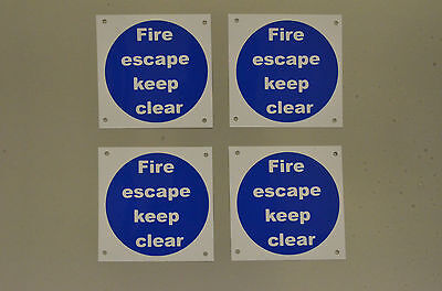 Fire Escape Keep Clear *Pack Of 4* Plastic Signs Stickers 100x100 Fire Safety • 2.76£