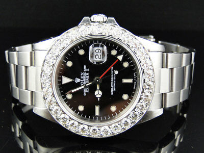 $ CDN13815.89 • Buy Mens 40mm Stainless Steel Rolex Explorer II Black Dial Watch 6 Ct Diamond Bezel