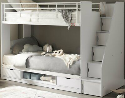 £449 • Buy Cameo Deluxe Staircase Bunk Bed - White Or Oak | Storage And Stairs - New Bunks