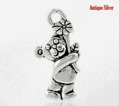 £2.70 • Buy 50 ANTIQUE SILVER 3D TEDDY BEAR CHARMS/PENDANT 19mm JEWELLERY~ CRAFTING (58A)