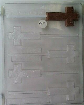 Wooden Cross Lollipop Clear Plastic Chocolate Candy Mold R011 • 2.56£