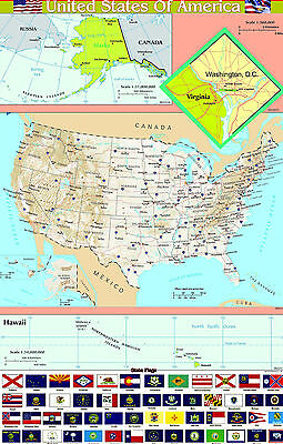 A2 Laminated USA UNITED STATES Of AMERICA  Map Wall Chart Poster  | FLAGS BOTTOM • 2.99£