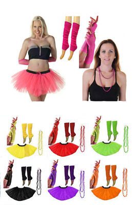 NEON 80s FANCY DRESS HEN PARTY COSTUMES SET 3LAYER TUTU SKIRT LEG WARMER GLOVES  • 8.99£