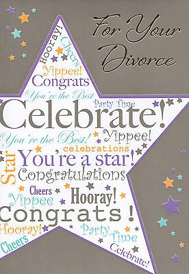 Contemporary For / On Your DIVORCE Card - Party Time Hooray Congrats Celebrate! • 1.15£