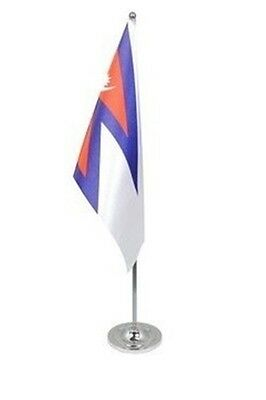 £9.99 • Buy NEPAL DELUXE SATIN TABLE FLAG 9 X6  CHROME POLE & BASE Stands 15  NEPALESE