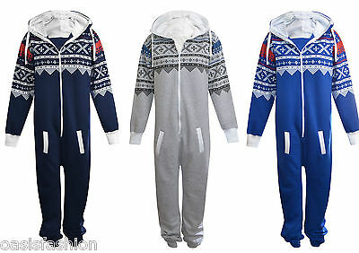 Unisex 1onesie Mens Plain Aztec Print Zip  All In One Hooded Jumpsuit Size S 5xl • 13.99£