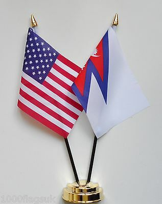 £9 • Buy United States Of America & Nepal Double Friendship Table Flag Set