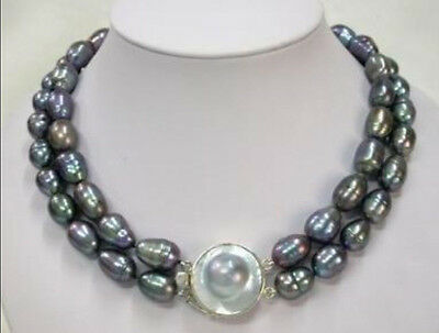 $18.99 • Buy AAA 8-9mm Black Rice Pearl Necklace + Mabe Pearl Clasp 17 -18