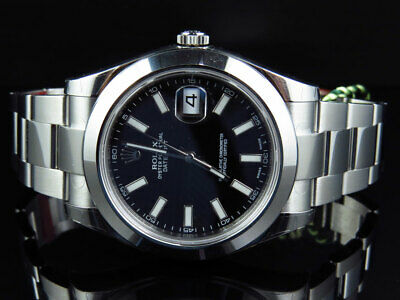 $ CDN10283.98 • Buy Mens New 41 MM Black Stick Dial Rolex DateJust II 2 116300 Smooth Bezel Watch
