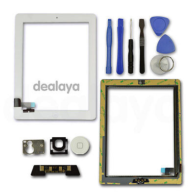 FOR IPAD 2 WHITE REPLACEMENT LCD SCREEN TOUCH DIGITIZER FRONT GLASS Home Button • 9.92£