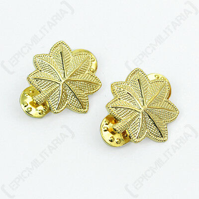 US Army MAJOR OFFICER Rank Insignia Gold Badges American Military Oak Leaves Pin • 9.75£