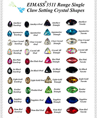 Crystal Shapes, EIMASS® 3511 Single Stone Setting Crystals, Sew Or Glue On Gems • 6.99£