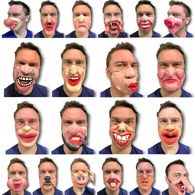Half Face Comedy Funny People Face Mask Stag Hen Latex Party Masks Masquerade • 4.49£