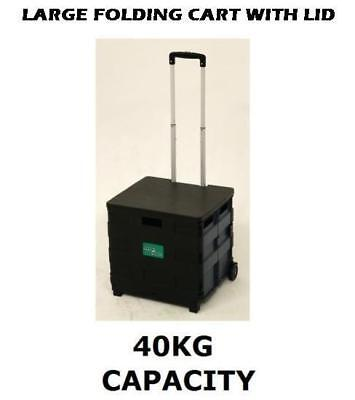 £24.99 • Buy Large Folding Boot Shopping Cart Trolley Crate With Lid Heavy Duty 40kg Capacity