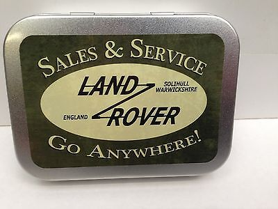 Land Rover Sales & Service Garage Cigarette Tobacco Storage 2oz Hinged Tin • 4.94£