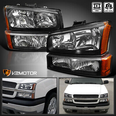 $94.38 • Buy For 2003-2007 Chevy Silverado Black Headlights+Bumper Parking Lights Lamps 4PC
