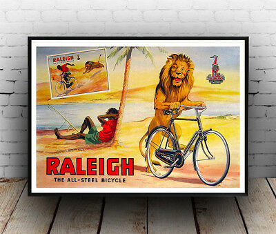 Raleigh Lion ,  Vintage Cycle Advertising Poster Reproduction • 7.99£