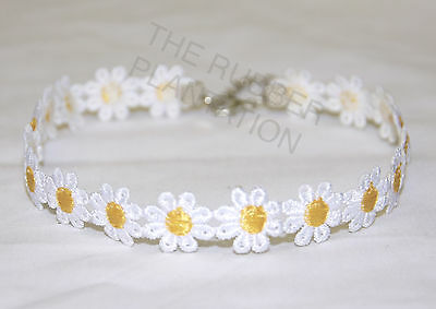 Vintage Daisy Choker Chain Flower Necklace Yellow & White Boho 1980s 1990s Lace • 1.89£