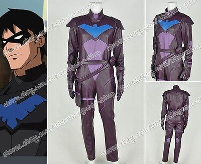 a364f4eeaff3 Young Justice Cosplay Nightwing Costume Artificial Leather Jumpsuit Outfit  New • 162.62