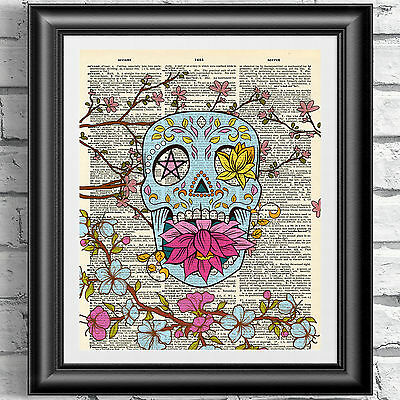 £5.99 • Buy Art Print On Dictionary Book Page Sugar Skull And Blossom. Gothic Tattoo Decor