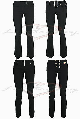 £10.99 • Buy Ladies Girls Good Quality Stretch Black Bootleg Skinny Hipster Trousers.