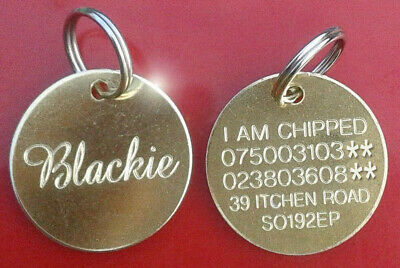 Engraved Pet Tags Id Disc Tag Cat Dog Collar Metal Brass Silver Nickel + Ring • 6.99£