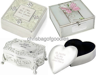 PERSONALISED TRINKET BOX Gifts For Birthday Mothers Day For Women Jewellery Her • 15.75£