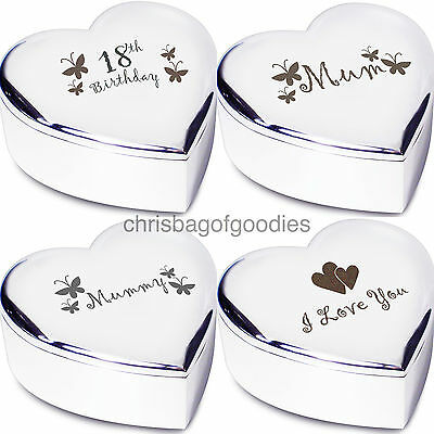 £10.99 • Buy ENGRAVED HEART SHAPED TRINKET BOX Gifts For Birthday Present Her My Women Ideas