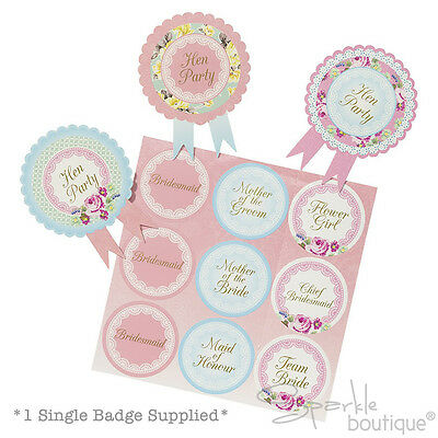 £0.99 • Buy INDIVIDUAL HEN NIGHT/PARTY BADGES - CHOOSE DESIGN -Classy/Vintage Style Rosettes