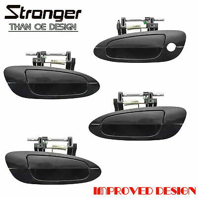 $36.75 • Buy Door Handle Smooth Black Exterior Outside Kit Set Of 4 For 02-06 Nissan Altima