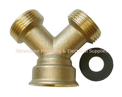 Brass Washing Machine Y Piece 2 Way Connector | Hose Splitter | Solid Brass • 4.99£