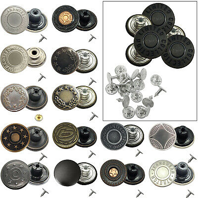 8pcs 17mm Hammer On Jean Buttons With Pins Metal Studs For Denim Jacket Trouser • 2.29£