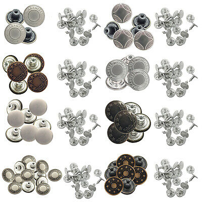 8pcs X 17mm Replacement Hammer On Jeans Buttons Pins Denim Studs Jacket Trousers • 2.29£