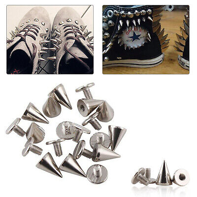 £3.15 • Buy 7mmx10mm Spike Cone Silver Screw Punk Studs Rivet For Leather Clothes Craft DIY