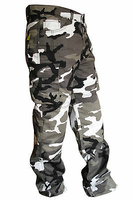 Mens Grey Cotton Camo Reinforced Protective Lining Motorbike Motorcycle Trousers • 39.99£