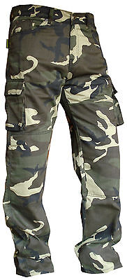 Mens Green Cotton Camo Reinforced Protectiv Lining Motorbike Motorcycle Trousers • 39.99£