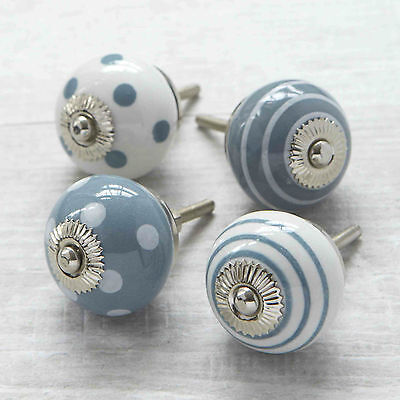 Grey Spots Stripes Ceramic Cupboard Door Knob Drawer Handle Cabinet Pull • 3.50£