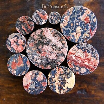 $7.65 • Buy Pair Of Leopard Jasper Organic Stone Plugs Double Flared - 2g To 1  -10 Sizes