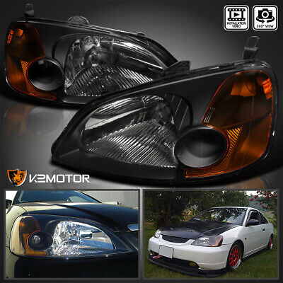 $68.38 • Buy For 2001-2003 Honda Civic 2/4Dr Coupe Sedan Headlights JDM Black Left+Right