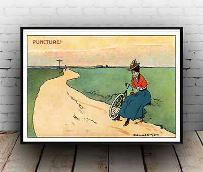 Puncture : Old  Cycling Poster Reproduction. • 7.05£