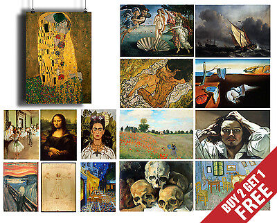 $ CDN13.81 • Buy FAMOUS PAINTERS POSTERS , Classic Paintings Fine Art Prints For Home Decor A3 A4