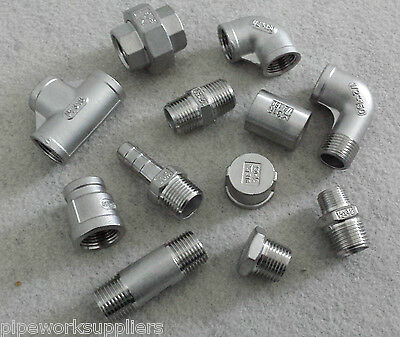 STAINLESS STEEL 316 PIPE FITTINGS BSP 1/8  To 4   -  RATED 150lb • 1.99£
