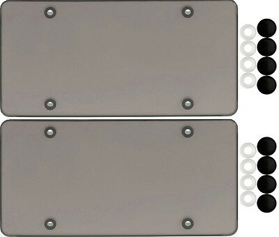 $14.82 • Buy 2 Smoke Flat License Plate Cover Bug Shield Tinted Plastic Tag Protector & Caps