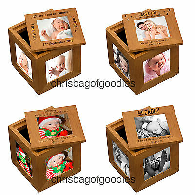 PERSONALISED OAK Wood Wooden Multiple Multi Aperture PICTURE Photo Frame CUBE • 20.50£