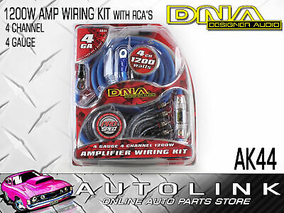 AU78 • Buy Dna Ak44 4 Gauge 4 Channel 1200w Amplifier Wiring Kit + 80amp Fuse Holder & Rcas